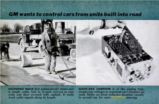 GM wants to control cars from units built into road, in: Popular Science, Mai 1958, S. 76.